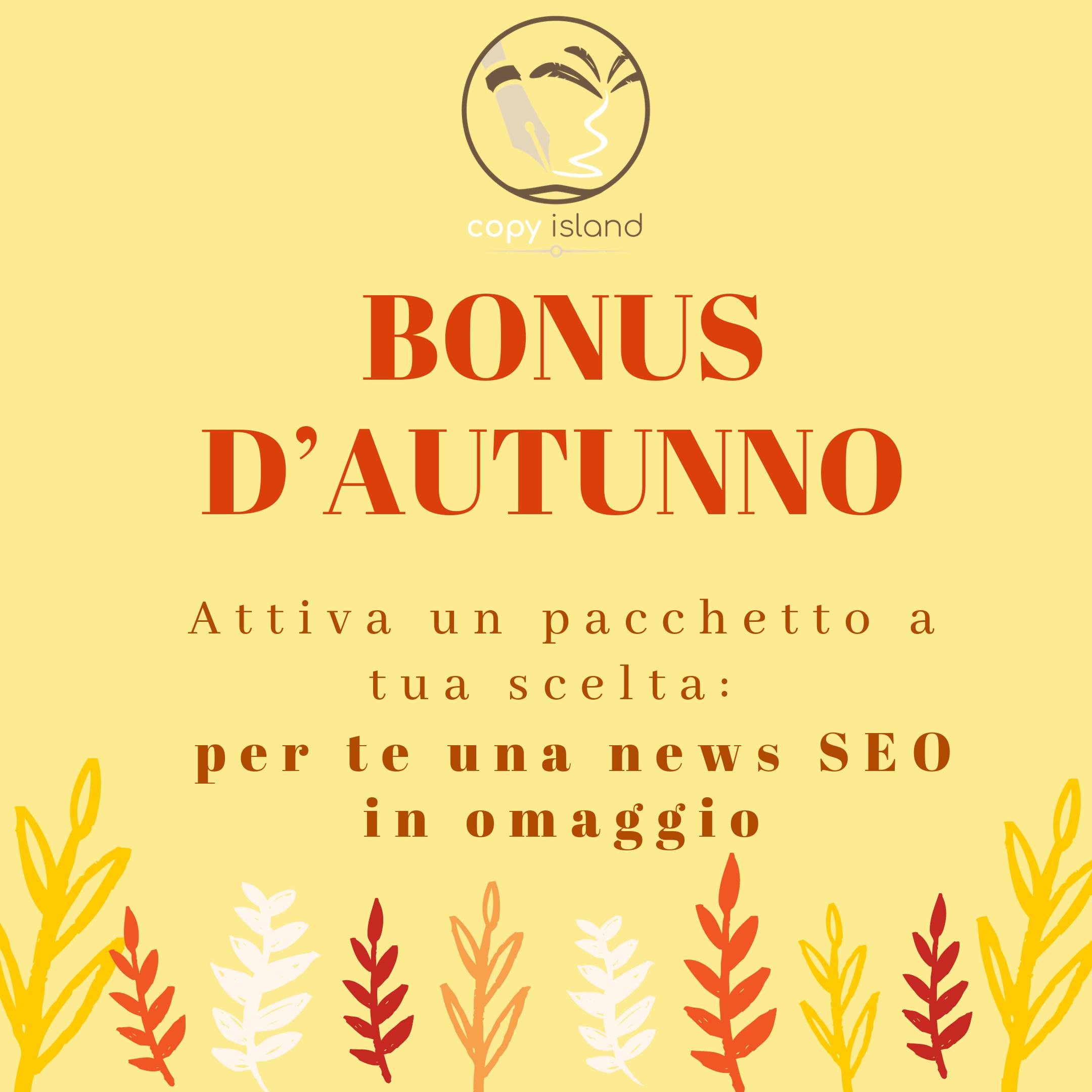 COPYWRITING BLOG: ECCO IL BONUS D'AUTUNNO